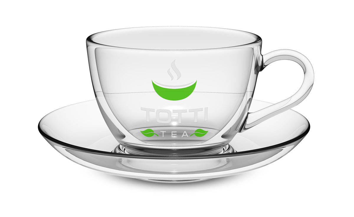 Glass cup with saucer TOTTI Tea